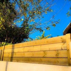 גדר עץ חומה 0017