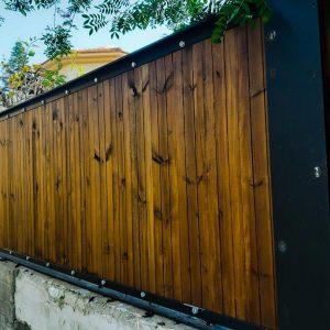 גדר עץ חומה 0021